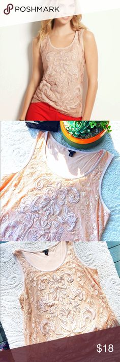 "Ann Taylor Scroll Embroidered Tank Such a beautiful top! Great for dressing up or down. Features lace front with scroll appliqué and gold stitching. Neckline and loose arms are piped with a soft silk like material and the back has a soft, stretchy cotton. Length: 27"" Bust: 42"" Ann Taylor Tops Tank Tops"