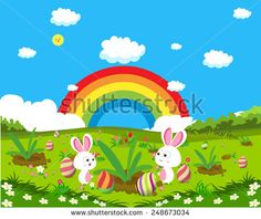 easter eggs spring fresh grass and bunny background