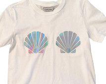 Mermaid Holographic Shell T-Shirt Sea Shell Nautical Beach Summer The Little Mermaid Ariel Trend Womens Fashion Gift For Her Present