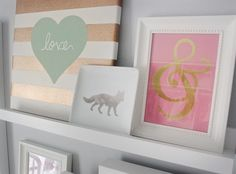 Coral & Gold Ampersand - DIY framed wall art made from gift bag found in the Target store dollar bin. Love & Lace: Nursery Reveal.