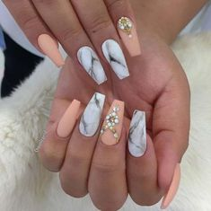Nail Art Ideas For Coffin Nails - Peach and Marbles - Easy, Step-By-Step Design For Coffin Nails, Including Grey, Matte Black, And Great Bling For Instagram Ideas. Includes Everything From Kylie Jenner Ideas To Nailart For Short Nails, Long Nails, And Bea