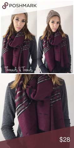 Burgundy Tribal Scarf Burgundy tribal print scarf with fringe detailing. Gorgeous for the fall and winter. Measurements: Accessories Scarves & Wraps