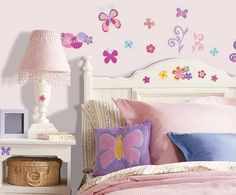Kids Room Decorating Ideas With Butterfly For Girls Ideas, Kids Room Decorating Ideas With Butterfly For Girls Interior Design, Kids Room Decorating Ideas With Butterfly For Girls Image id 3568 in Gallery White Wall Bedroom, Girl Bedroom Walls, Bedroom Themes, Girl Room, Kids Bedroom, Garden Bedroom, Bedroom Ideas, Teenage Room Designs, Butterfly Baby Room