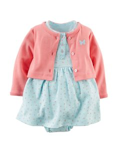Carter's® 2-pc. Floral Print Dress & Coral Cardigan Set – Baby 3-12 Mos.   Stage Stores