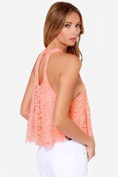 Coral Lace Top - Halter Top - Crop Top - $29.00