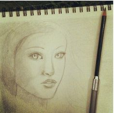 Sketch in pencil of a girl