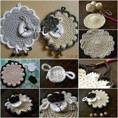 Crochet Lamb Coasters Free Pattern