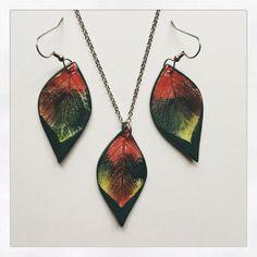 Small-Medium Ceramic Leaf Earrings/Necklace by AlainaSheenDesigns