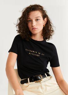 Mango Elegance Is An Attitude Tee, Black, Size Latest Fashion Trends, New Fashion, Autumn Fashion, Womens Fashion, Outfits Mujer, Attitude, Ideias Fashion, T Shirts For Women, Mango