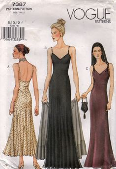 Vogue Pattern 7387 Strappy Bias Cut Slip Dress w/Plunging Back, Raised Waist A-line Skirt & Stole/Evening Wrap by GertAndElmer on Etsy Source by GertAndElmer Dresses Evening Dress Patterns, Vintage Dress Patterns, Dress Sewing Patterns, Clothing Patterns, Vintage Dresses, Evening Dresses, Vintage Outfits, Formal Dress Patterns, Vogue Dress Patterns