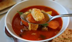 Hungarian Goulash Soup (Gulyásleves) has delicious vegetables, beef, sweet Hungarian paprika, parikacrem, petite little dumplings and lots of fresh parsley Goulash Soup, Tomato Basil Sauce, Chicken Cacciatore, Baked Fish, Marinated Chicken, The Fresh, Spicy, Stuffed Peppers, Dinner