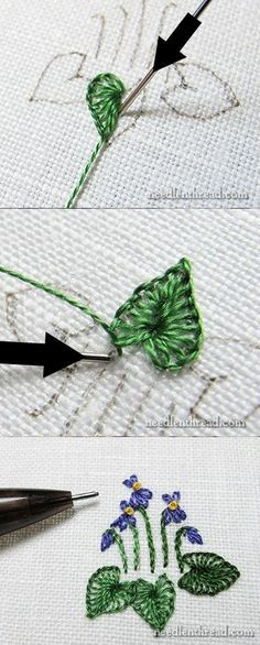 Buttonhole stitch leaves - Tutorial http://needlenthread.com/                                                                                                                                                                                 More