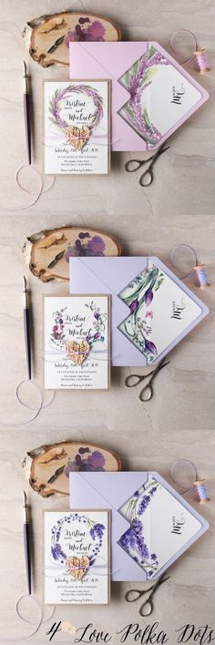 Lilac & Lavender purple watercolor wedding invitations #purplewedding #pinkwedding #lilacwedding