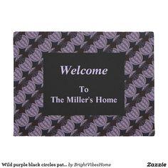 Wild purple black circles pattern doormat