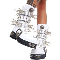 Maria ke Fisherman Spike Boots ($650) ❤ liked on Polyvore featuring shoes, boots, silver boots, silver shoes, spiked boots, white shoes and spike shoes