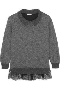 CLU Lace-paneled jersey sweatshirt | NET-A-PORTER.  Add mesh or light weight fabric to a side panel and extend beyond hem.
