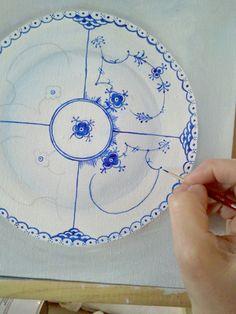 LilyOake handpainting blue and white china