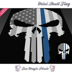 Mini Skull Flag crochet blanket pattern; c2c, knitting, cross stitch graph; pdf download; no written counts or row-by-row instructions by TwoMagicPixels, $3.79 USD