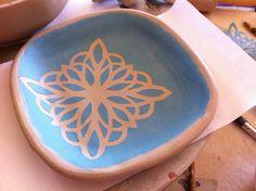 Paper stencil used with underglaze click now for info. Ceramic Tools, Ceramic Decor, Ceramic Artists, Ceramic Plates, Ceramic Pottery, Pottery Workshop, Ceramic Workshop, Pottery Studio, Ceramic Techniques