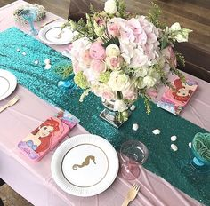 Gorgeous teal sequined table runner for a mermaid birthday party Under The Sea Party, Mermaid Birthday, Kara, The Little Mermaid, Ariel, Table Runners, Seaside, Party Favors, Teal