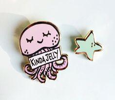WinkPins Kinda Jelly Set of Two Pins- Cute Jellyfish and Star Hard Enamel Lapel Pin Set