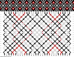 Friendship bracelet pattern - diamonds, grid, overlapping - 30 strings - 3 colors