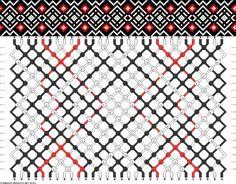 Friendship bracelet pattern - diamonds, grid, overlapping - 30 strings - 3 colors