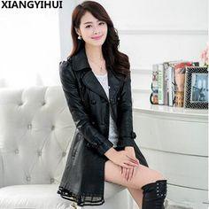Cheapest prices US $34.19  Fashion Plus Size 5XL Long Leather Jacket Women Leather Coat Female 2017 autumn Ladies lace Leather Jackets Coats black  . Provide product: Best Leather Jackets For Women.