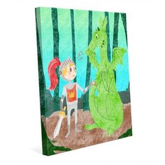 """Click Wall Art 'Knight and Dragon' Graphic Art on Wrapped Canvas Size: 24"""" H x 20"""" W x 1.5"""" D"""