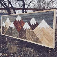 Reclaimed Wood Wall Art, Mosaic Wall Art, Wood Projects, New Homes, Scene, Woodworking, Rustic, Building, Nature