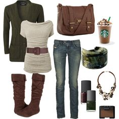 """Green and Brown Fall"" by chelseawate on Polyvore...love that Starbucks is included"