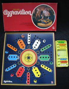 Aggravation game- my family played this at every holiday gathering.  My 90 year old grandma still has the complete set.