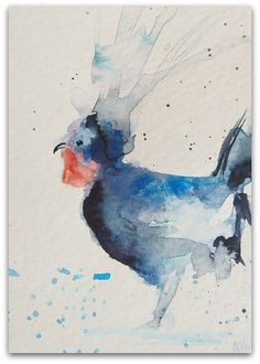 Rooster painting  Original Miniature Ink by StudioHydeArt on Etsy #originalwatercolour #painting #ink #artwork #etsy #devonetsy #wildlifeart
