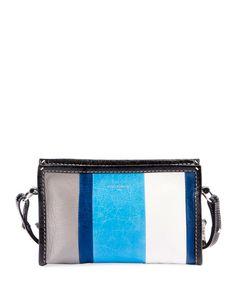 BALENCIAGA Bazar Colorblock Leather Shoulder Bag, Blue. #balenciaga #bags #shoulder bags #leather #