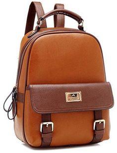 Hynbase Retro Student Faux Leather Schoolbag Shoulder Bag Travel Preppy Rucksack Brown