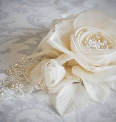 Ivory Bridal Sash - Handmade Silk Flowers and Hand beaded Lace on a double sided Swiss satin sash - IVORY, WHITE, or BLACK