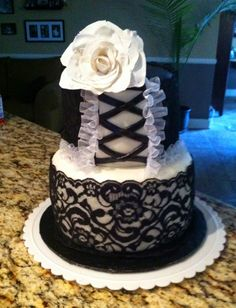 Sexy little number! Inspired and designed for a Black & White Lingerie Bridal Shower!
