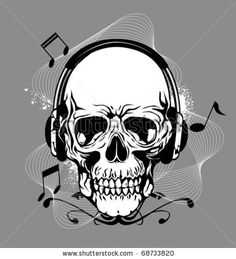 Skeleton with Headphones | skull with headphone - stock vector