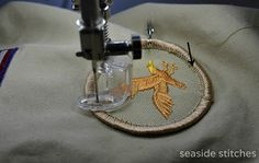 Seaside Stitches: How to Sew on Scout Patches, A Tutorial, using a quilting foot on sewing machine Boy Scout Badges, Girl Scout Troop, Cub Scouts, Girl Scouts, Boy Scout Shirt, Boy Scout Patches, Sew On Patches, Wes Anderson, Sewing Crafts