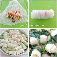 lahana turşusu sevenler birde böyle denesin...nefis oluyor...   malzemeler:  1 tane büyük boy gevşek sarmalık lahana   iç harcı:  lah...