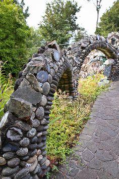 Walker Rock Garden | Flickr - Photo Sharing! Mosaic Rocks, Rock Mosaic, Garden Bridge, Sidewalk, Outdoor Structures, Explore, Design, Decor, Stone Mosaic