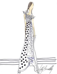 SKETCH A DAY 38/365 sullybonnelly.com #Sully #SullyBonnelly #Sketch #CFDA #Fashion #FashionDesigner #BlackandWhite #LongDress #Gown #Dress