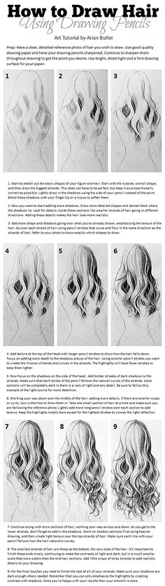 An Art Tutorial for Drawing Realistic Hair in Drawing Pencils, by Arian Butler. #art #artwork #artist #arttutorial #tutorial #drawinghair #hairart #hairartwork #hairtutorial #hair #instructions #instructional