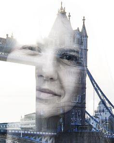 Bildideen für Städtereisen: Doppelbelichtung mit Portraitfoto und Sehenswürdigkeit.