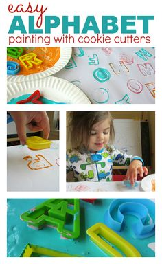 abc activity for toddlers Painting with cookie cutters and learn the alphabet too! This easy alphabet activity couldn't be simpler. Preschool Literacy, Literacy Activities, Toddler Activities, Preschool Activities, Preschool Letters, Early Literacy, Kindergarten Math, 3 Year Old Activities, Painting Activities