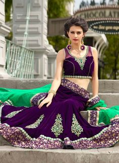 Purple Color Wedding Bridal Lehenga Choli