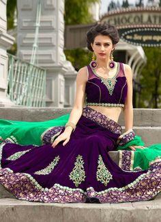 Purple Color Wedding Bridal Lehenga Choli