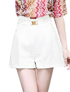 uxcell Women High Waist Buckle Belt Decor Pleated Design Shorts White M -- You can get additional details at the image link.