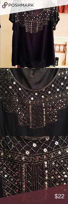Forever 21 Navy Blue Blouse Silver Sequins Large Beautiful Navy Blue Top by Fore. - My Posh Picks , Silver Sequin Skirt, Navy Blue Blouse, Fashion Design, Fashion Tips, Fashion Trends, Blue Tops, Forever 21, Sequins, Lost Weight