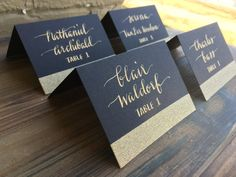 Escort Cards/Wedding Calligraphy/Gold place by LilyandRoseStudio - custom navy and gold?